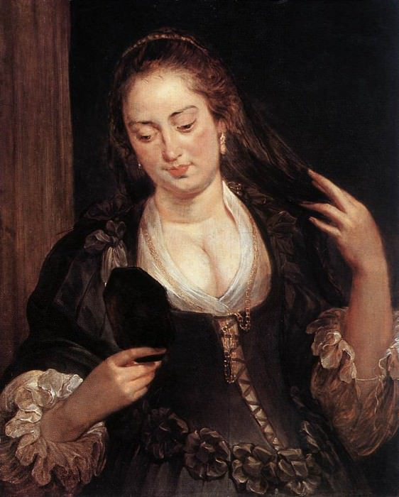 Woman with a Mirror -1640. Peter Paul Rubens