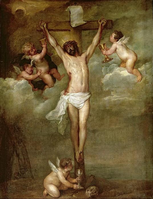 Христос на кресте в окружении ангелов, собирающих его кровь. Питер Пауль Рубенс