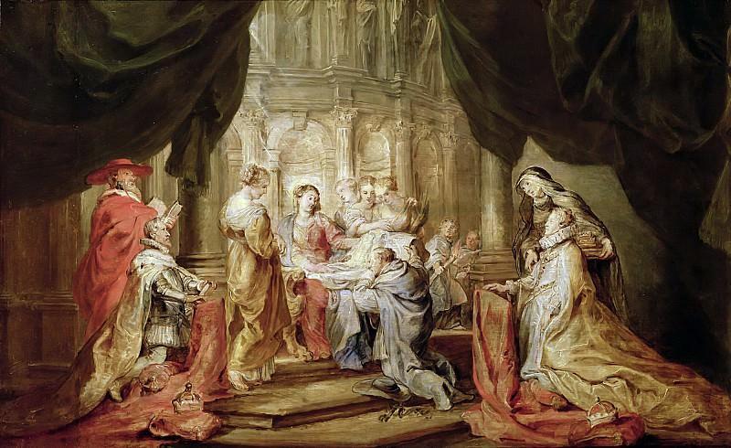 Дева Мария, вручающая архиепископу Толедскому облачение, с правителями Южных Нидерландов и их небесными патронами. Питер Пауль Рубенс