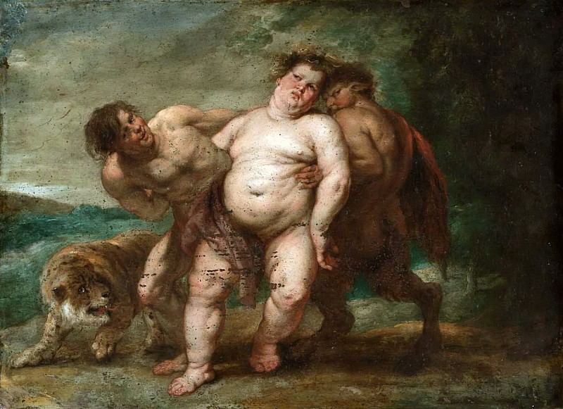 Drunken Bacchus with Faun and Satyr. Peter Paul Rubens