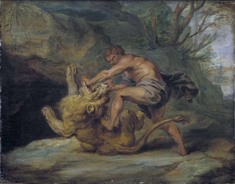 Samson and the Lion. Study. Peter Paul Rubens