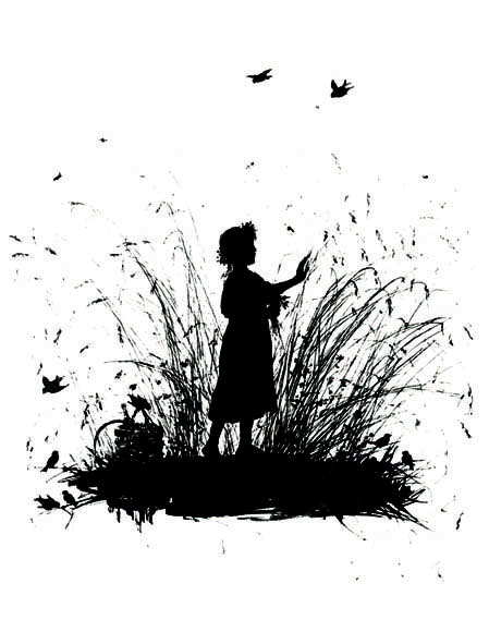 Silhouette. Girl in the Rye. Elizabeth Merkuryevna Boehm (Endaurova)