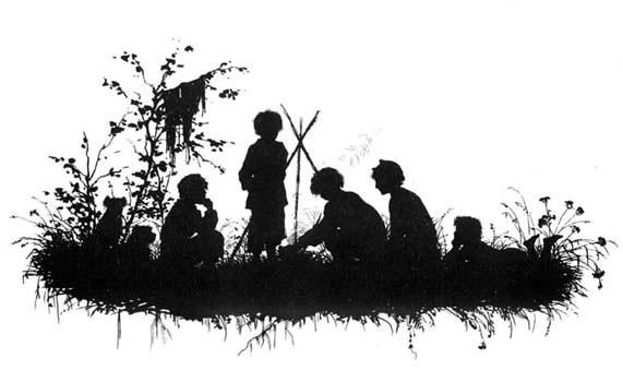 Silhouette. Types of Sketches Turgenev 1883 Bezhin meadow.. Elizabeth Merkuryevna Boehm (Endaurova)