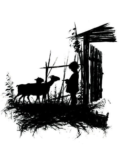 -Силуэт. Из кн. Силуэты из жизни детей . Мальчик с козами. 1877. Елизавета Меркурьевна Бём (Эндаурова)