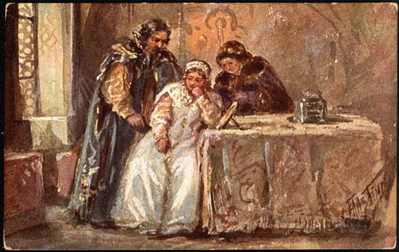 Scene of the tragedy of Boris Godunov,. Elizabeth Merkuryevna Boehm (Endaurova)
