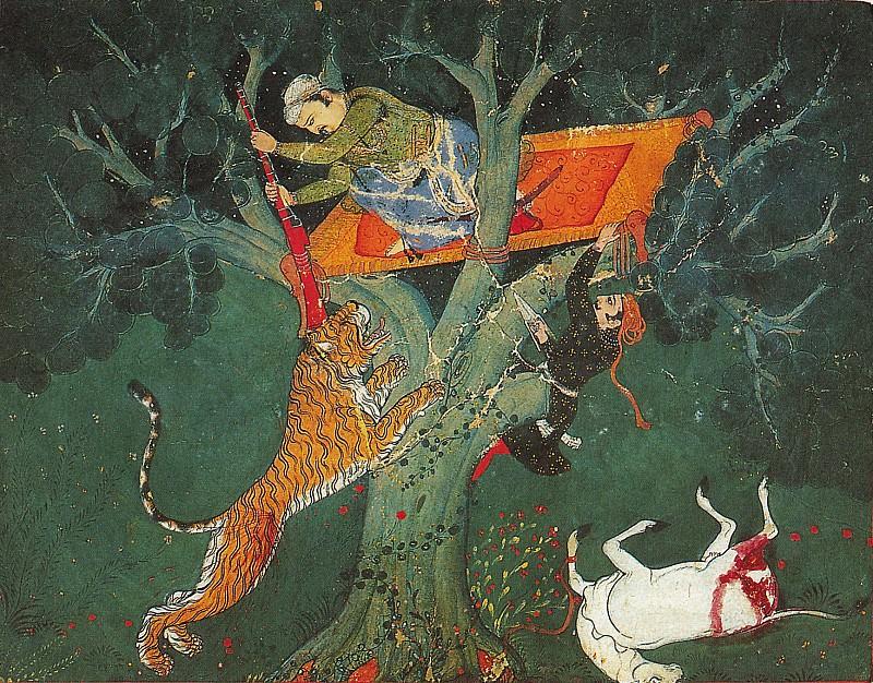Приписывается Мастеру Хада - Рао Бхож Сингх ночью преследованует тигра. Музей Метрополитен: часть 2
