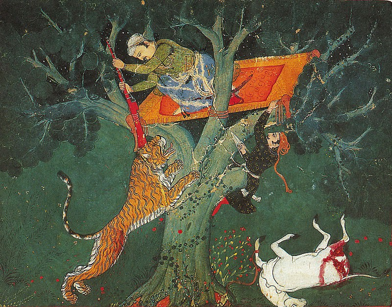Attributed to Hada Master - Rao Bhoj Singh Stalking a Tiger at Night. Metropolitan Museum: part 2