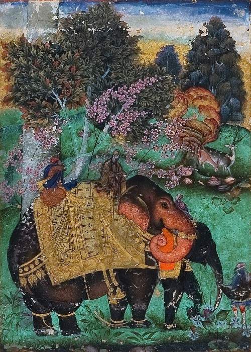 Attributed to Farrukh Beg - Sultan Ibrahim Adil Shah II Riding His Prized Elephant, Atash Khan. Metropolitan Museum: part 2