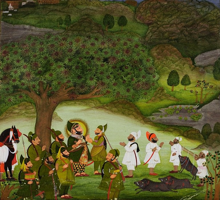 Chokha - Maharana Bhim Singh Reviewing the Kill after a Boar Hunt. Metropolitan Museum: part 2