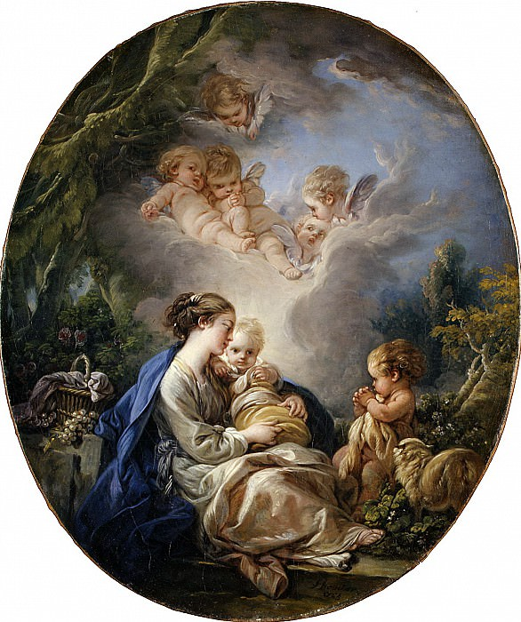 Virgin and Child with the Young Saint John the Baptist and Angels. Francois Boucher
