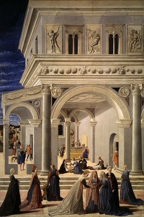Fra Carnevale (Italian, born by 1416–died 1484 Urbino) - The Birth of the Virgin. Metropolitan Museum: part 2