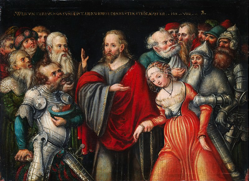 Lucas Cranach the Younger and Workshop - Christ and the Adulteress. Metropolitan Museum: part 2