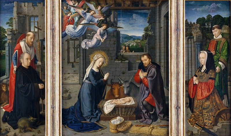 Gerard David - The Nativity with Donors and Saints Jerome and Leonard. Metropolitan Museum: part 2