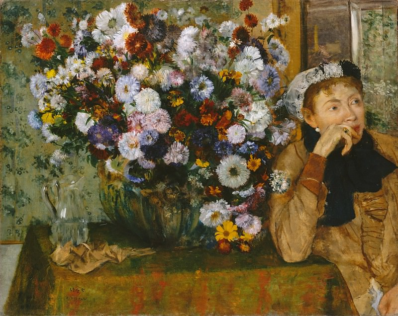 Edgar Degas - A Woman Seated beside a Vase of Flowers (Madame Paul Valpinçon?). Metropolitan Museum: part 2