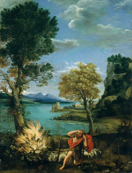 Domenichino (Italian, Bologna 1581–1641 Naples) - Landscape with Moses and the Burning Bush. Metropolitan Museum: part 2