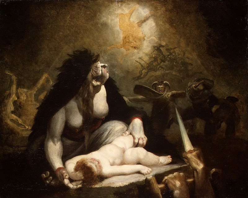 Henry Fuseli (Swiss, 1741–1825) - The Night-Hag Visiting Lapland Witches. Metropolitan Museum: part 2