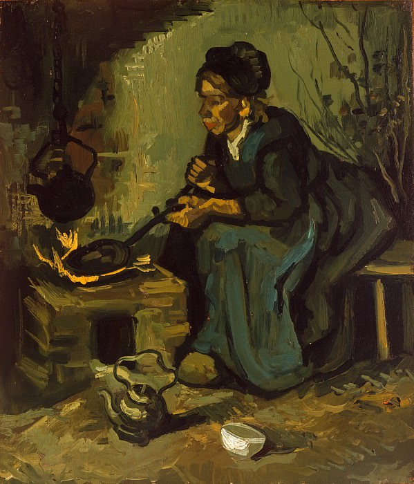 Peasant Woman Cooking by a Fireplace. Vincent van Gogh