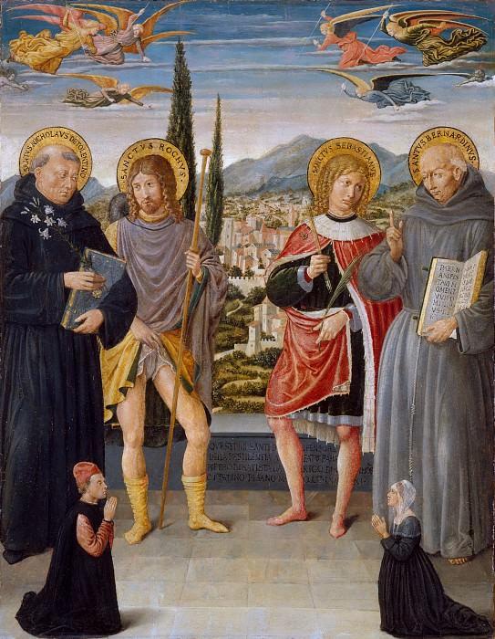 Benozzo Gozzoli (Italian, Florence ca. 1420–1497 Pistoia) - Saints Nicholas of Tolentino, Roch, Sebastian, and Bernardino of Siena, with Kneeling Donors. Metropolitan Museum: part 2