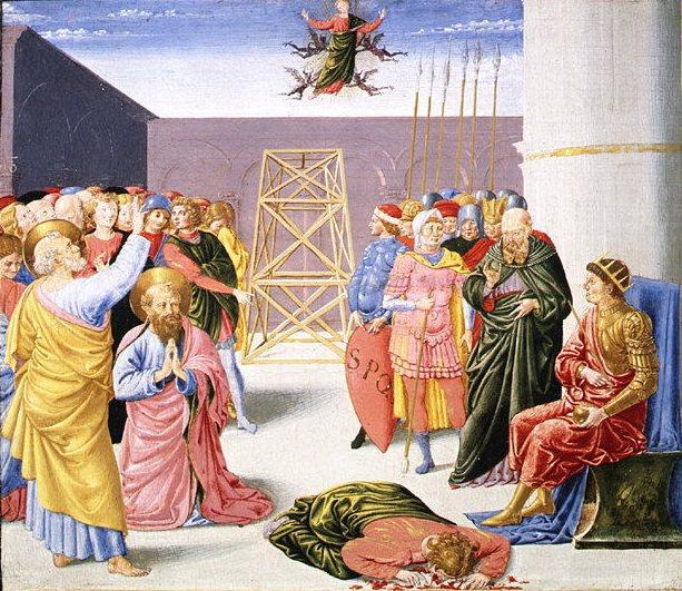Беноццо Гоццоли (Италия, Флоренция около 1420-1497 Пистойя) - Святой Пётр и Симон Волхв. Музей Метрополитен: часть 2
