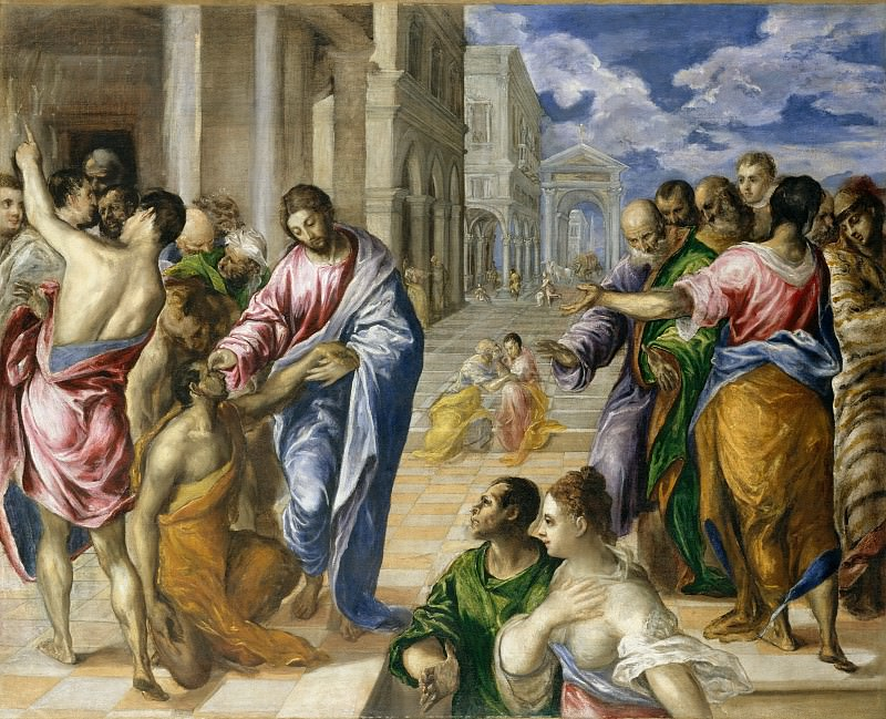 El Greco (Greek, Candia 1540/41–1614 Toledo) - The Miracle of Christ Healing the Blind. Metropolitan Museum: part 2 (Iráklion)