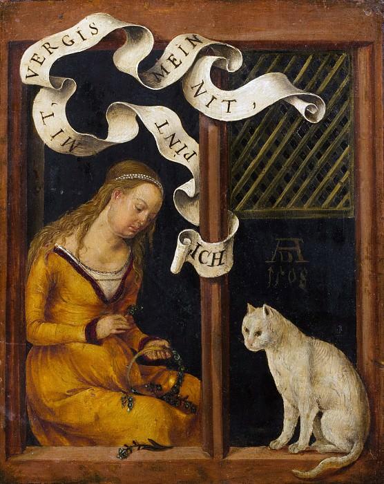 Ганс Зюсс фон Кульмбах - Девушка, плетущая венок; (на обороте) Портрет молодого человека. Музей Метрополитен: часть 2