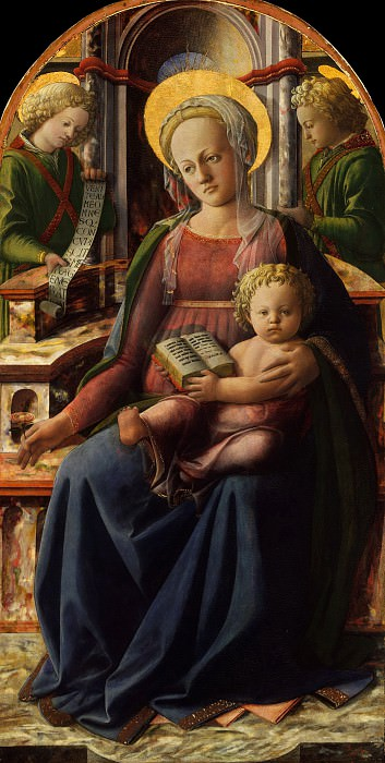 Fra Filippo Lippi - Madonna and Child Enthroned with Two Angels. Metropolitan Museum: part 2