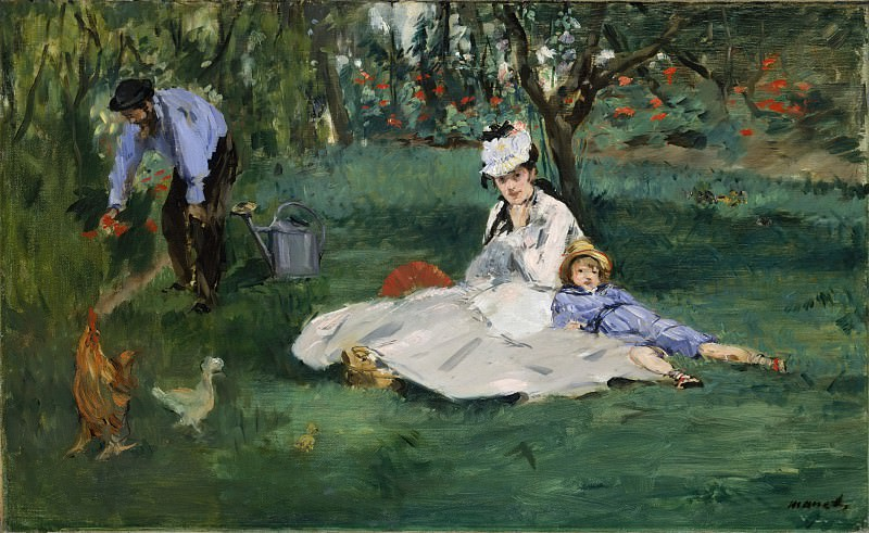 The Monet Family in Their Garden at Argenteuil. Édouard Manet