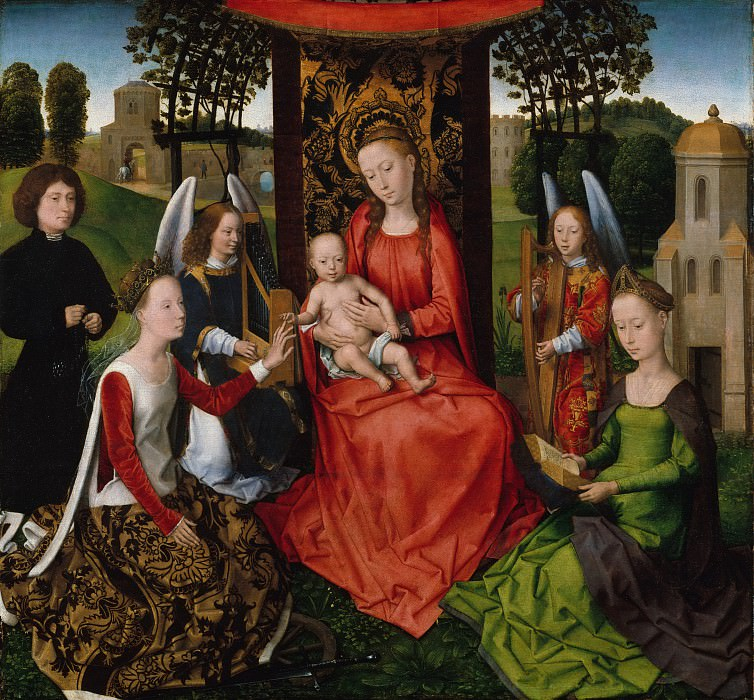 Hans Memling - Virgin and Child with Saints Catherine of Alexandria and Barbara. Metropolitan Museum: part 2