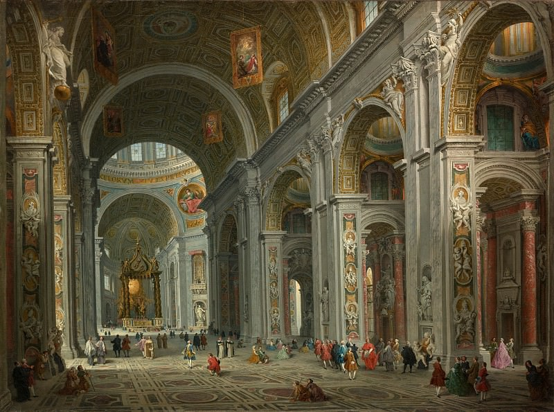 Giovanni Paolo Panini - Interior of Saint Peter's, Rome. Metropolitan Museum: part 2