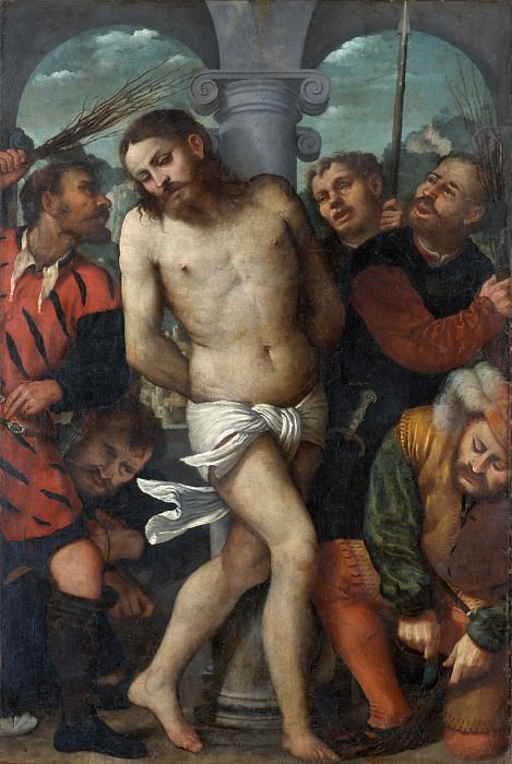 Girolamo Romanino - The Flagellation; (reverse) The Madonna of Mercy. Metropolitan Museum: part 2