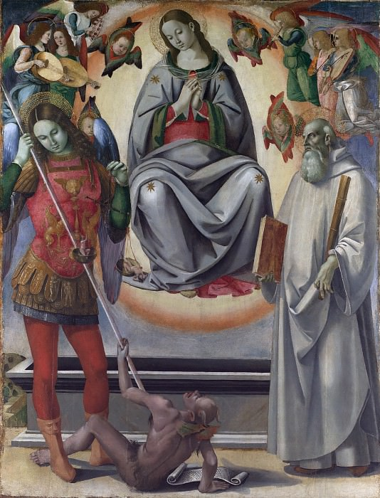 The Assumption of the Virgin with Saints Michael and Benedict. Luca Signorelli (and Workshop)