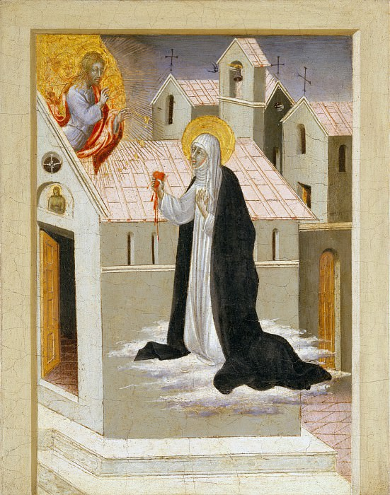 Giovanni di Paolo (Italian, Siena 1398–1482 Siena) - Saint Catherine of Siena Exchanging Her Heart with Christ. Metropolitan Museum: part 2