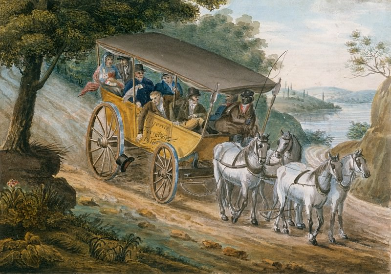 Pavel Petrovich Svinin - Travel by Stagecoach Near Trenton, New Jersey. Metropolitan Museum: part 2