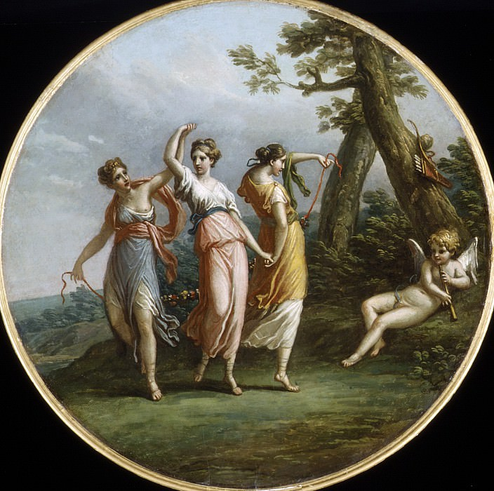 Attributed to Antonio Zucchi - Three Dancing Nymphs and Reclining Cupid in Landscape. Metropolitan Museum: part 2