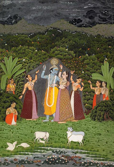 Неизвестный художник - Кришна и Гопи укрываются от дождя. Музей Метрополитен: часть 2