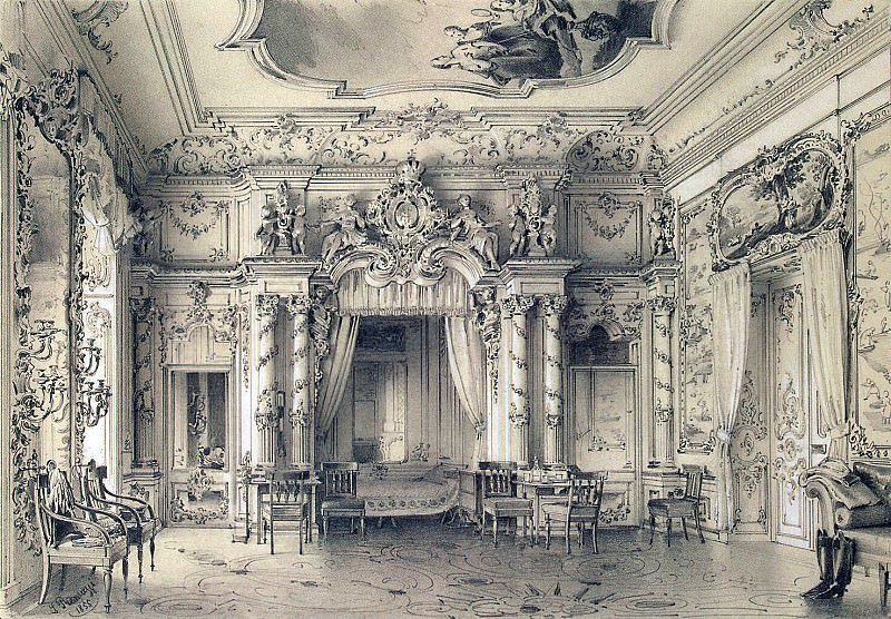Premazzi, Luigi - A bedroom in the Grand Palace, Tsarskoe Selo. Hermitage ~ part 10