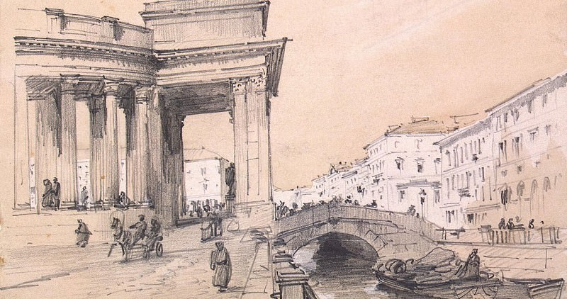 Premazzi, Luigi - Kazan Cathedral on the part of the Catherine Canal in St. Petersburg. Sketch. Hermitage ~ part 10