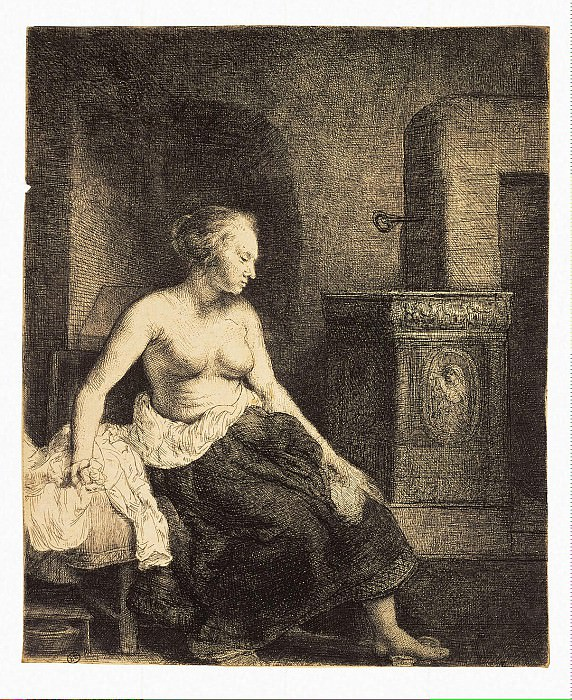 Rembrandt, Harmenszoon van Rijn - Half-naked at the stove. Hermitage ~ part 10