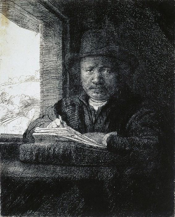Rembrandt, Harmenszoon van Rijn - Rembrandt drawing at a window. Hermitage ~ part 10