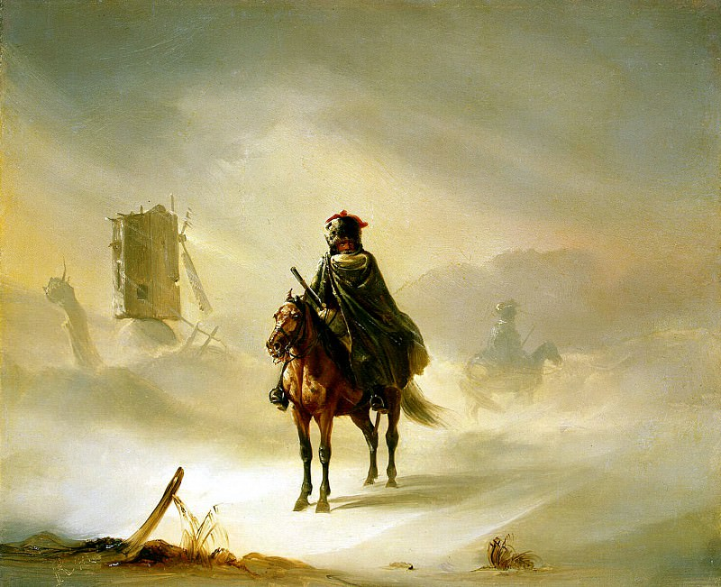 Raffi, Auguste - Two French Hussars on patrol in the winter. Hermitage ~ part 10
