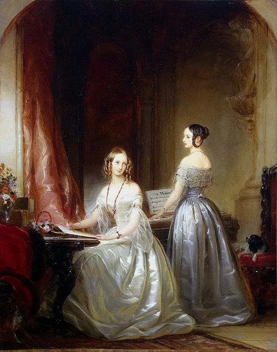 Robertson, Christina - Portrait of Grand Duchesses Olga Nikolaevna and Alexandra Nikolaevna the harpsichord. Hermitage ~ part 10