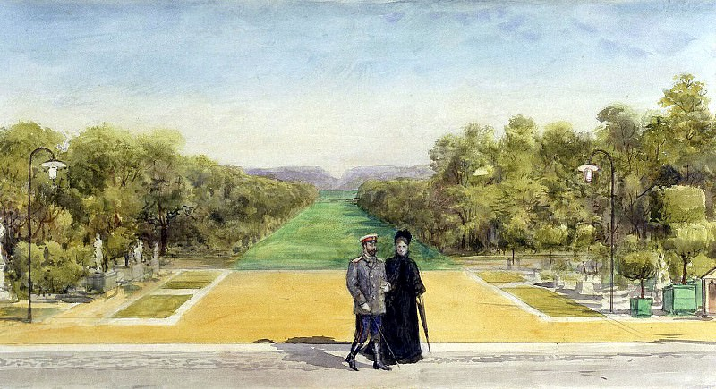 Piasecki, Pavel Ya - The imperial couple in the park of the castle of Compiègne. Hermitage ~ part 10