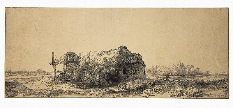 Rembrandt, Harmenszoon van Rijn - Landscape with a cabin and barn. part 10 Hermitage