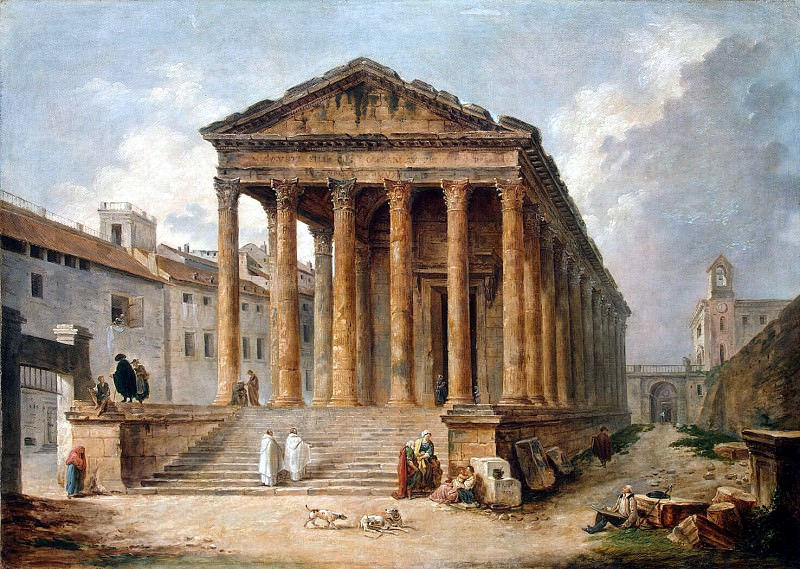 Robert, Hubert - The ancient temple, the so-called quad house in Nimes. Hermitage ~ part 10