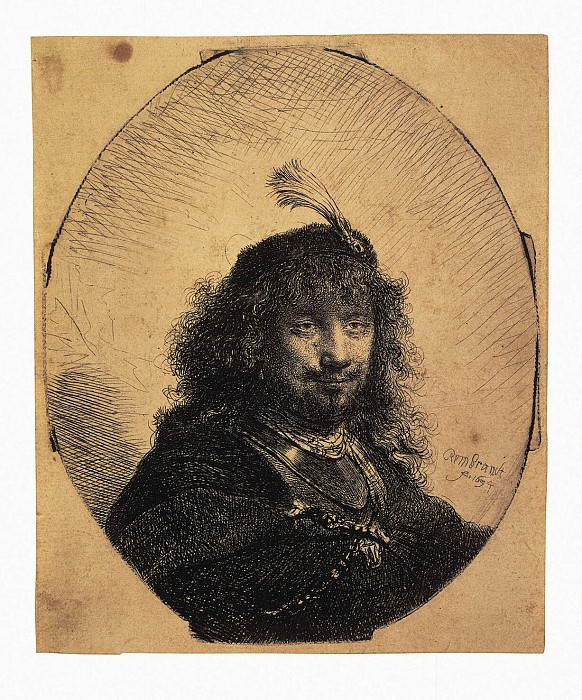 Rembrandt, Harmenszoon van Rijn - Self-portrait in a cap with a plume and lowered his sword. Hermitage ~ part 10