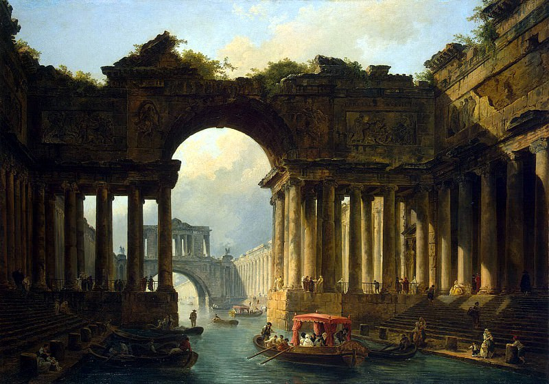 Robert, Hubert - Architectural landscape with a channel. Hermitage ~ part 10