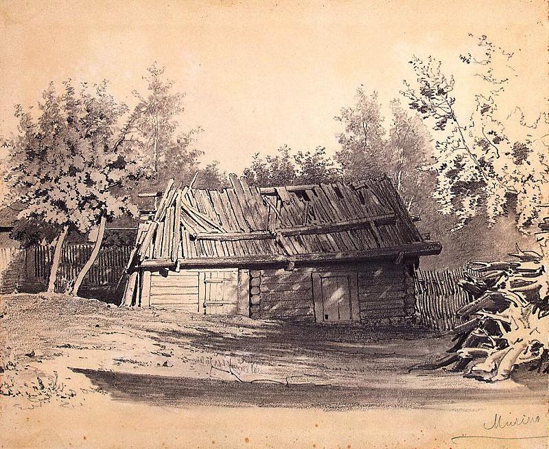 Премацци, Луиджи - Полуразвалившийся сарай в саду. Набросок. Эрмитаж ~ часть 10