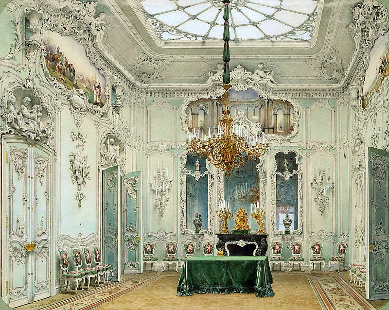 Premazzi, Luigi - Types of rooms in the Winter Palace. Green dining. Hermitage ~ part 10