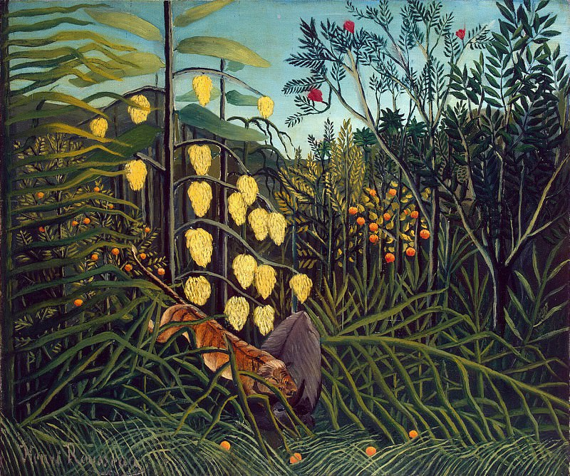 Rousseau, Henri - Tiger attack at the bull. In the rainforest. Hermitage ~ part 10