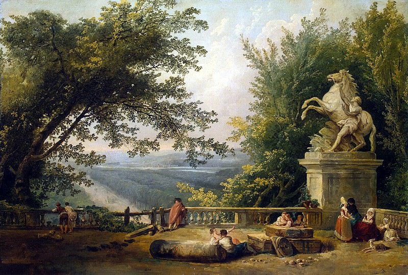 Robert, Hubert - Ruins of the terrace in the park Marley. Hermitage ~ part 10